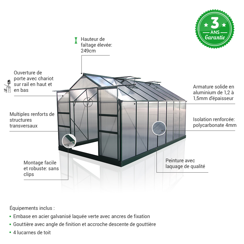 Serre polycarbonate 13,2m² avantages Green Protect