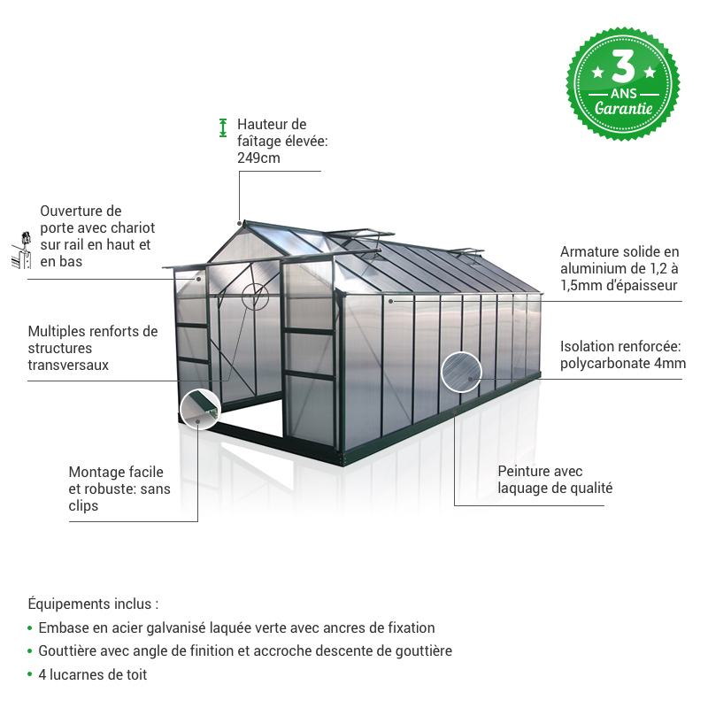 focus serre polycarbonate 16,9m² green protect