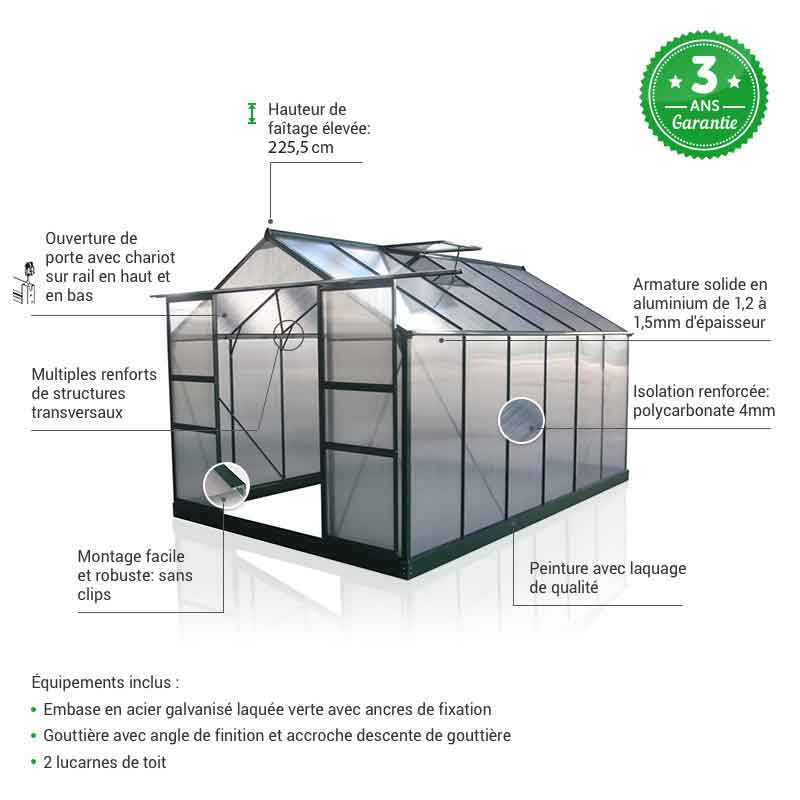 serre polycarbonate focus 9,13m² green protect