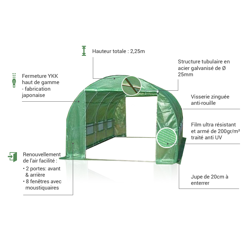 Avantages serre tunnel 13,5m² Green Protect